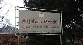 Spandoek met inox frame voor wijnhandel merckx